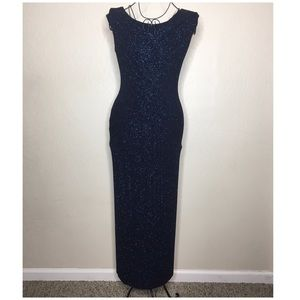 Alex Evening navy blue glitter stretch dress #103
